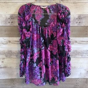 Rebecca Taylor Ruffle Sleeve Floral Blouse